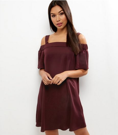 Burgundy Sateen Bardot Neck Dress | New Look