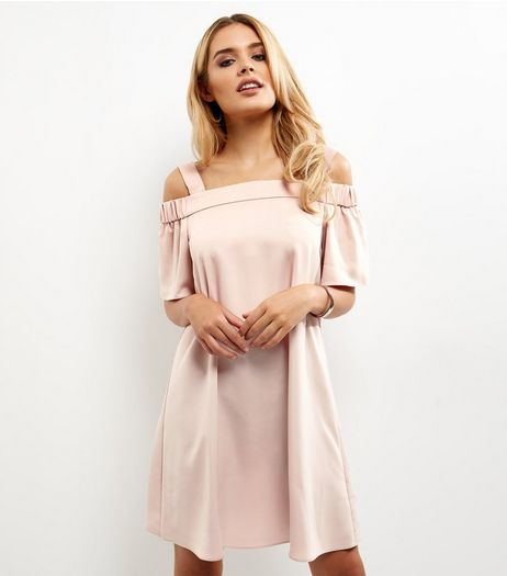 Mid Pink Sateen Bardot Neck Dress | New Look