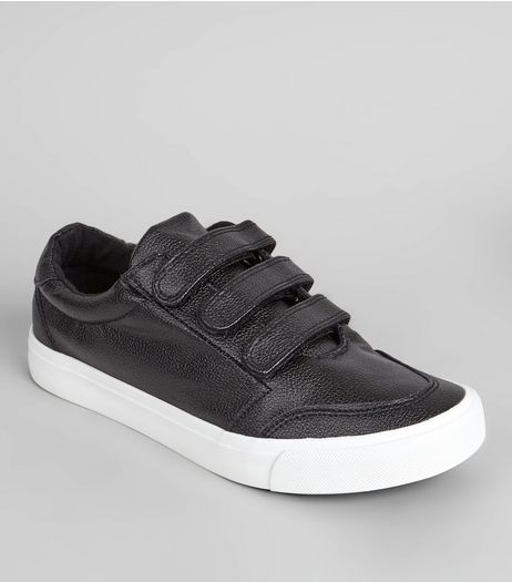 Black Velcro Strap Trainers | New Look