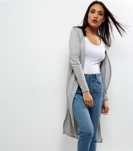 Grey Brushed Maxi Cardigan  | New Look
