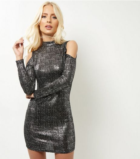 Parisian Black Cold Shoulder Metallic Funnel Neck Dress | New Look