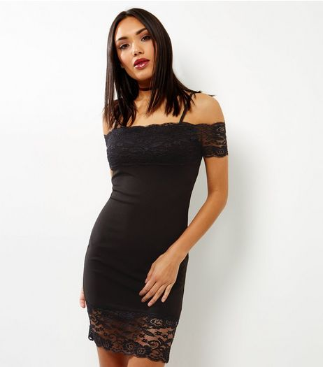 Parisian Black Lace Bardot Neck Dress | New Look