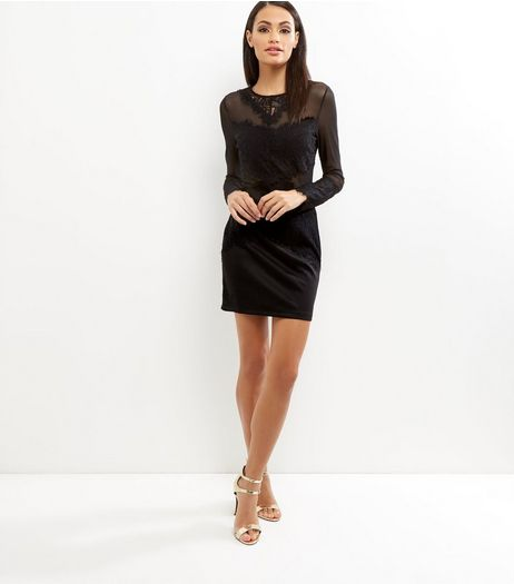 Parisian Black Lace Mesh Panel Bodycon Dress | New Look