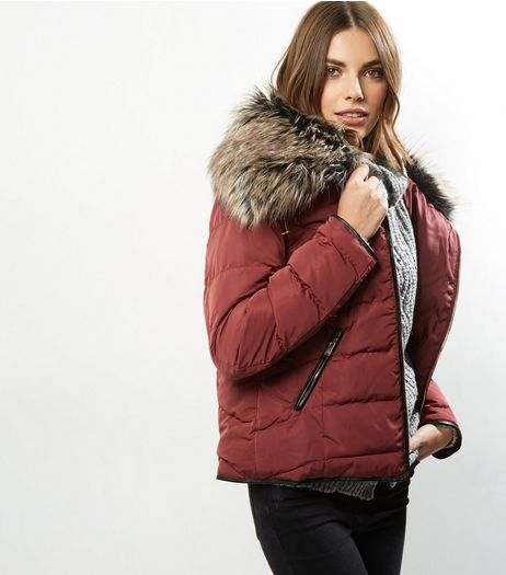 Parisian Burgundy Faux Fur Collar Padded Jacket  | New Look