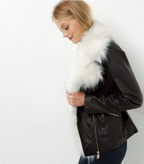 Parisian Black Faux Fur Trim Leather Look Jacket | New Look