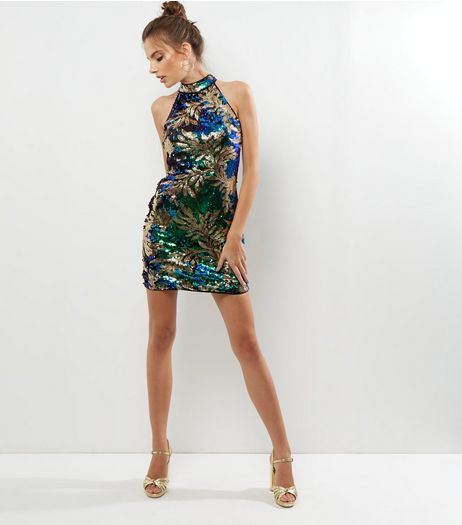 Parisian Green Sequin Leaf Pattern Bodycon Dress | New Look