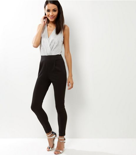 Loving This Black Colour Block Pleated Jumpsuit | New Look
