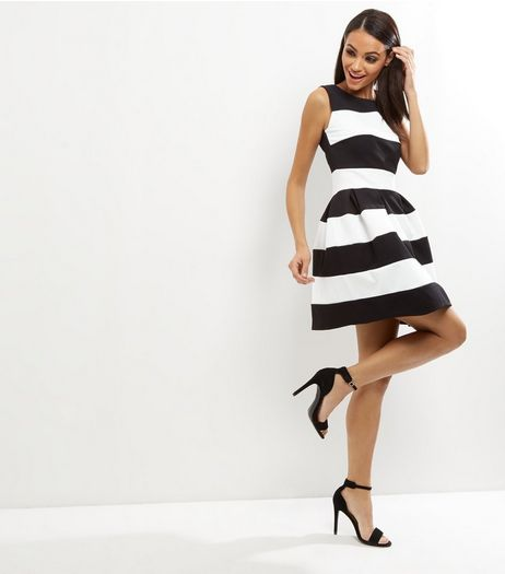 Loving This Black Stripe Sleeveless Skater Dress | New Look