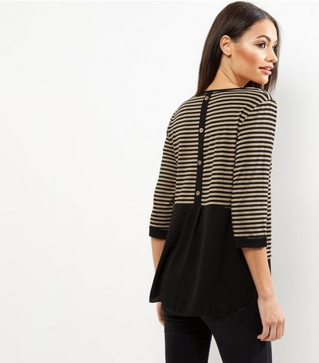 Loving This Gold Stripe Contrast Hem Button Back Top  | New Look
