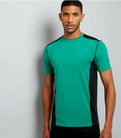Green Panelled Running T-Shirt | New Look