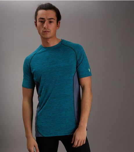 Blue Marl Panelled Running T-Shirt | New Look