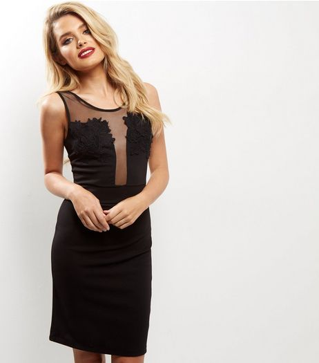 Black Lace Mesh Panel Bodycon Midi Dress | New Look