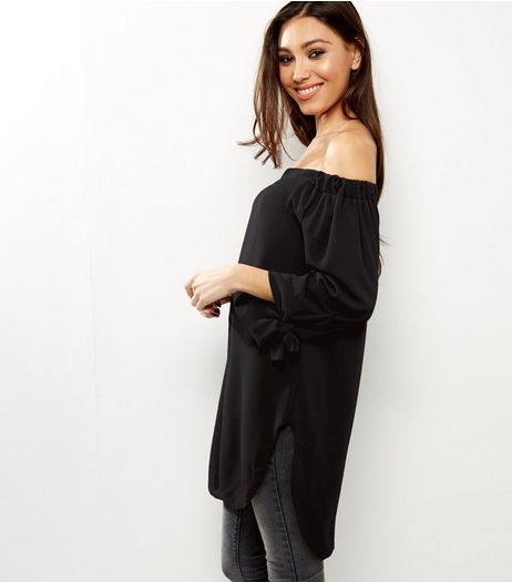 QED Black Tie Sleeve Bardot Neck Longline Top | New Look