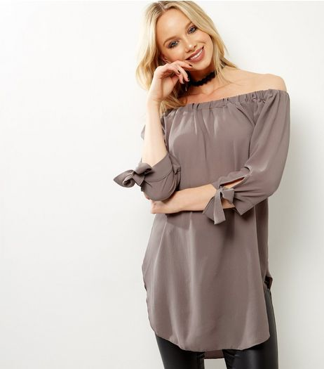 QED Mink Tie Sleeve Bardot Neck Longline Top  | New Look