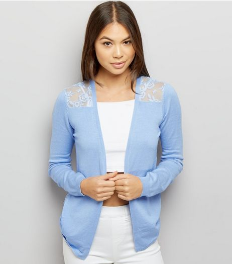 Blue Lace Back Cardigan  | New Look