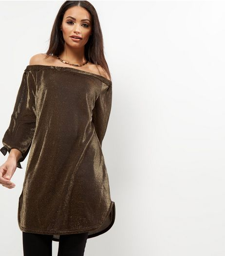 Loving This Metallic Tie Sleeve Bardot Neck Dress | New Look