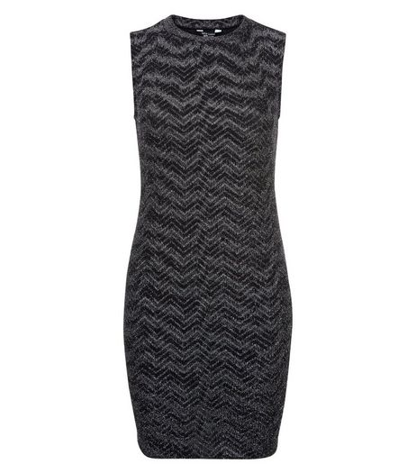 Teens Black Metallic Chevron Bodycon Dress | New Look