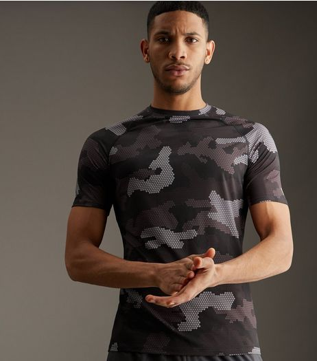 Black Camo Print Sports T-Shirt | New Look