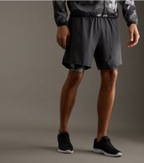 Black Camo Print 2 in 1 Running Shorts | New Look