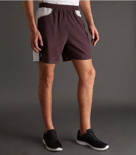 Burgundy Contrast Side Running Shorts | New Look