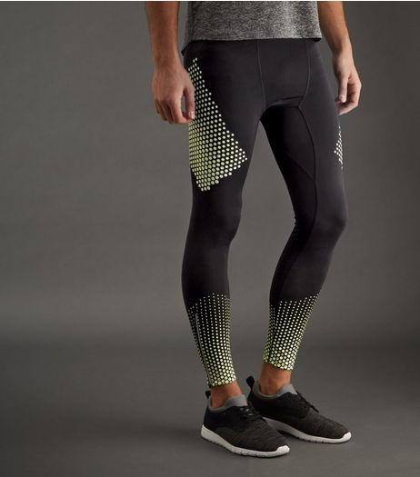 Black Tonal Honeycomb Print Running Tights | New Look