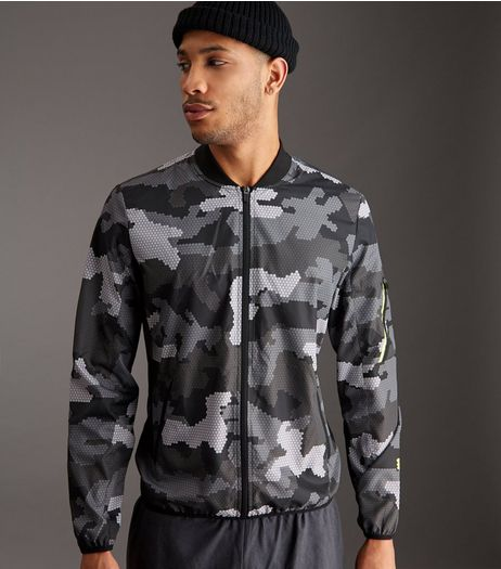 Grey Camo Running Jacket | New Look