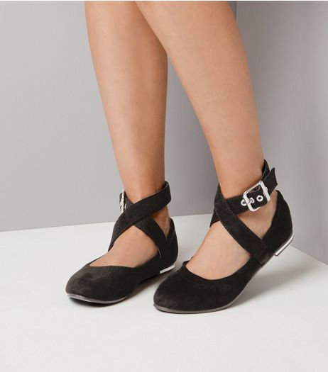 Black Suedette Buckle Strap Pumps | New Look