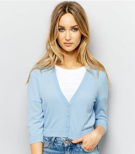 Pale Blue 3/4 Sleeve Cropped Cardigan  | New Look