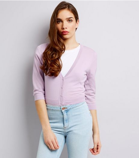 Mid Lilac 3/4 Sleeve Cropped Cardigan | New Look