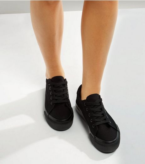 Black Lace Up Platform Trainers | New Look