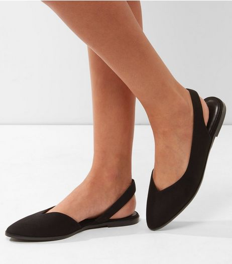 Black Suedette Sling Back Pointed Pumps | New Look