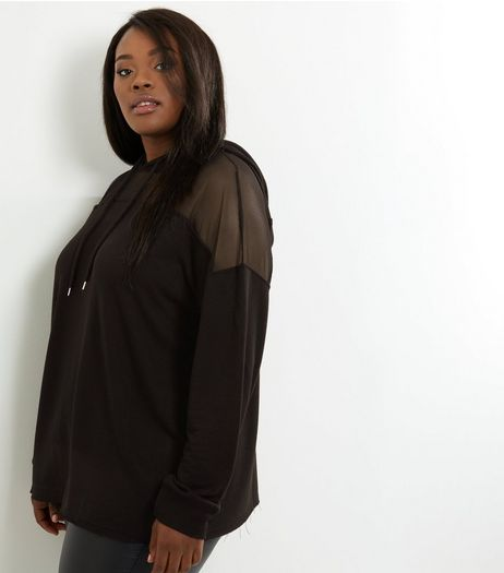 Curves Black Mesh Panel Raw Hem Hoodie | New Look