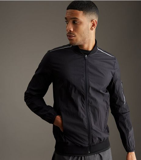 Black Contrast Stripe Running Jacket | New Look