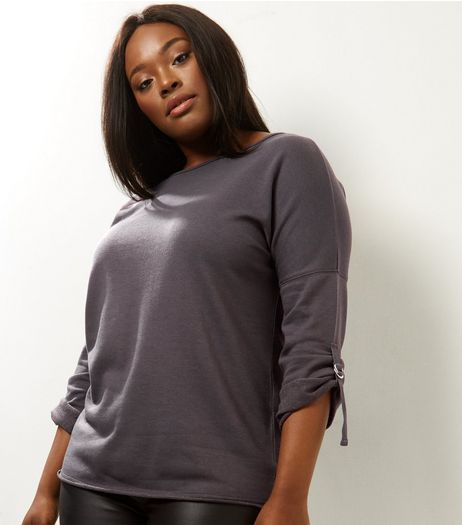 Curves Grey D Ring Tie Sleeve Sweater | New Look