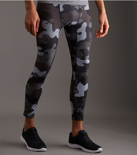 Black Sports Camo Print Running Tights | New Look