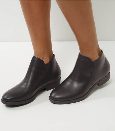 Black Elasticated Low Ankle Boots | New Look