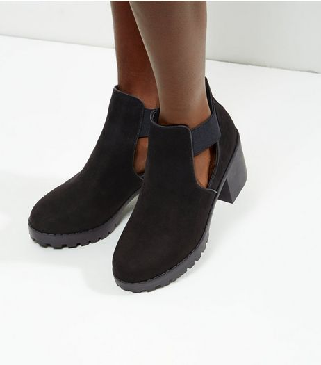 Black Suedette Elasticated Sides Ankle Boots | New Look