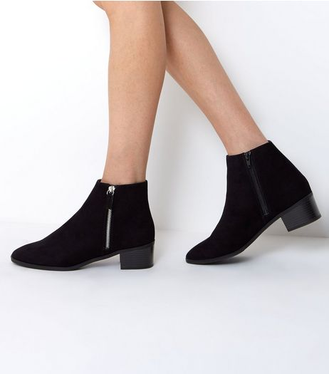 Black Suedette Zip Side Ankle Boots | New Look