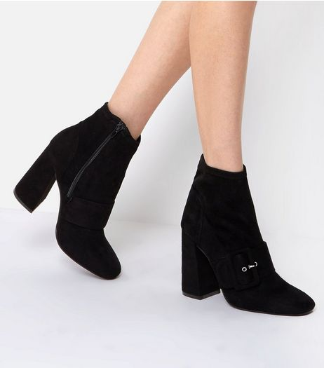 Black Suedette Buckle Front Flared Heel Boots | New Look