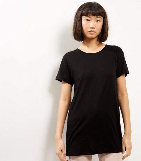 Black Roll Sleeve Boyfriend T-Shirt  | New Look