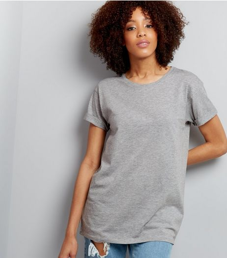 Mid Grey Roll Sleeve Boyfriend T-Shirt  | New Look