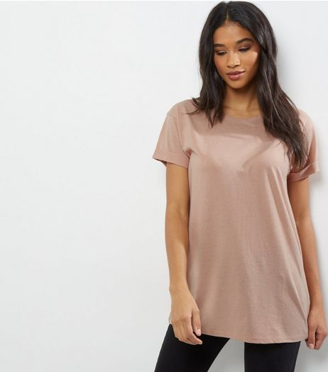 Light Brown Roll Sleeve Boyfriend T-Shirt | New Look