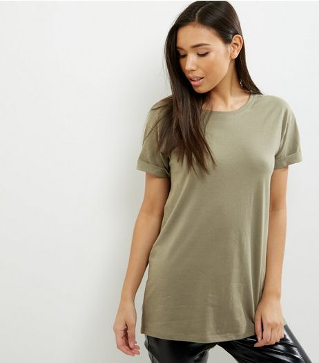 Olive Green Roll Sleeve Boyfriend T-Shirt | New Look