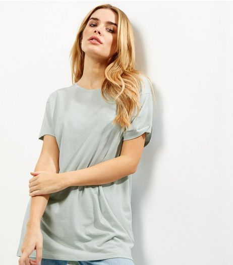 Mint Green Roll Sleeve Boyfriend T-Shirt | New Look