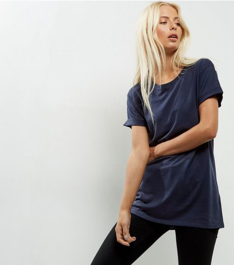 Navy Roll Sleeve Boyfriend T-Shirt | New Look
