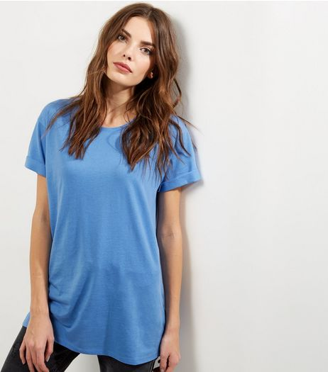 Blue Roll Sleeve Boyfriend T-shirt | New Look