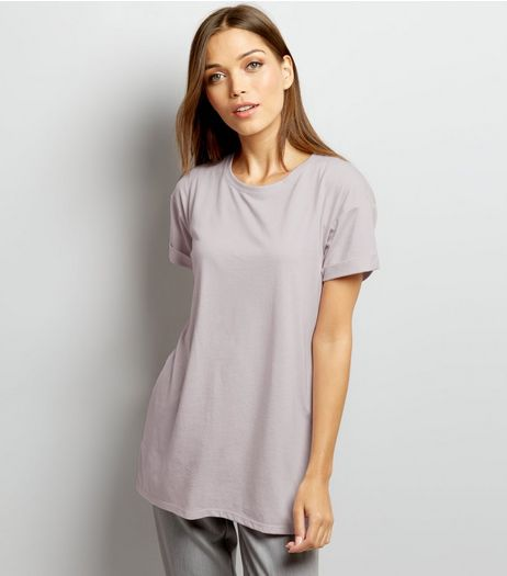 Lilac Roll Sleeve Boyfriend T-Shirt | New Look