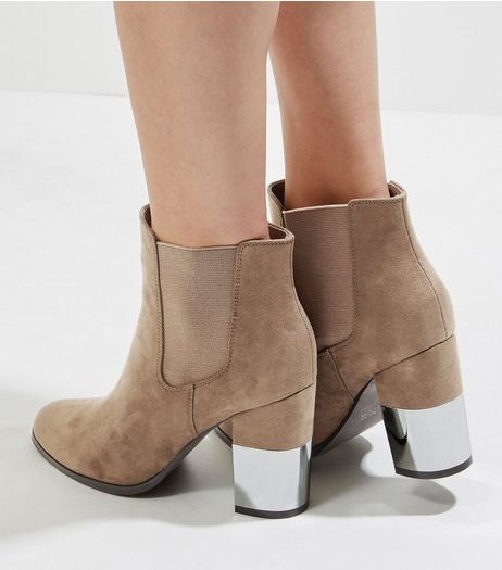 Light Brown Suedette Half Metal Heeled Boots | New Look