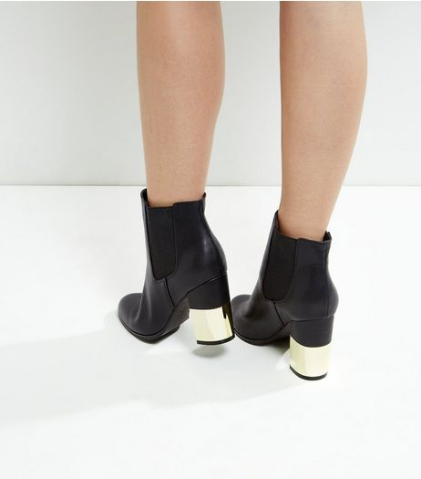 Black Half Metal Block Heel Chelsea Boots | New Look