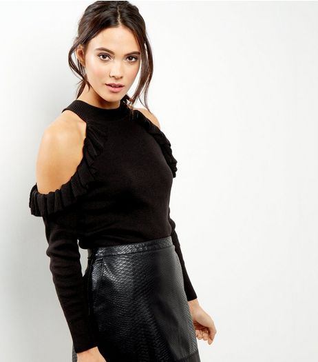 Black Ruffle Cold Shoulder Jumper | New Look